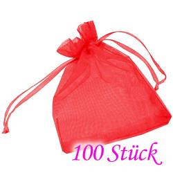 100x rot Organzasäckchen 10x15cm roter Organzabeutel - Schmuckzubehör Schmuckverpackung