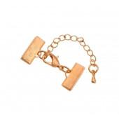 1x 15mm Bandklemme rose gold Verschluss mit Karabiner und Kette rose gold - rose gold Schmuckzubehör