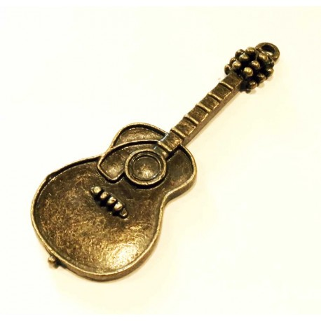 2 x Anhänger Gitarre Bronze 50x18mm