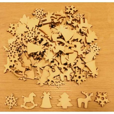 100x Weihnachtliche Motive 2cm Holz Klebsteine / Streudeko - Bastelbedarf Ostern