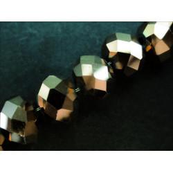 10x Goldfarbene geschliffene Kristallglasperlen 8x6mm - Schmuckzubehör