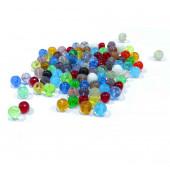 100 bunte runde Glasperlen 4mm im Perlenmix - Glasschmuck Schmuckzubehör