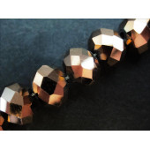 10x Dunkel Goldfarbene geschliffene Kristallglasperlen 8x6mm