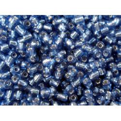 16g saphirblaue Rocailles 2mm Silbereinzug - Schmuckzubehör