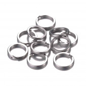 1x Edelstahl Schlüsselring 15mm flacher Ring silberfarben - Schlüsselanhänger basteln