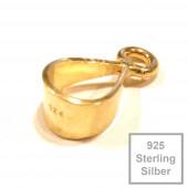 1x vergoldete 925er Collierschlaufe 12x10x5mm Sterling Silber - 925 Schmuckzubehör