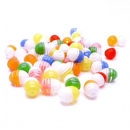 50 bunt gestreifte Resin Perlen 9x12mm ovale Form Perlenmix - Resin Schmuckzubehör