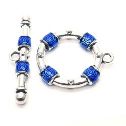 1x blau silberfarbener Knebelverschluss Ringteil 29x25mm Toggle - Schmuckzubehör Schmuckverschluss