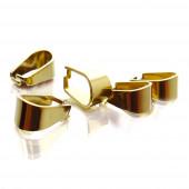 2x Edelstahl Collierschlaufe 10x5mm goldfarben Anhängerhaken - Schmuckzubehör Collierschlaufe