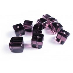 10x Lilafarbene Kristallglas Würfel Perlen 8x8mm - Schmuckzubehör