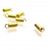 10x goldfarben Spiralendkappe 7x3mm Innen 2mm Endkappen Einklebhülsen - Schmuckzubehör