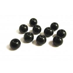 10 schwarze Glasperlen rund 8mm opak undurchsichtig - Schmuckzubehör