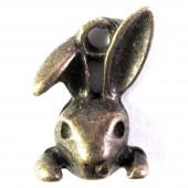 Bronze Osterhase Anhänger Hasenkopf ca. 13x10x4mm bronzefarbener Schmuckanhänger - Schmuckzubehör