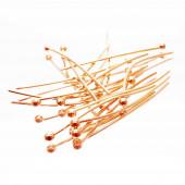 20 rosegoldfarben Nietstifte 30mm mit rundem Kopf - Schmuckzubehör