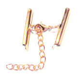 1x KC-goldfarben 25mm Perlenband Verbinder Set mit Karabiner und Kettchen - Schmuckzubehör