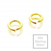 2x 5mm Biegering 925 Sterling Silber vergoldet Binderinge - Schmuckzubehör Biegering