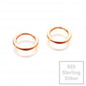 2x rosevergoldete 925er Biegeringe 5mm x 0,7mm Sterling Silber Binderinge - Schmuckzubehör