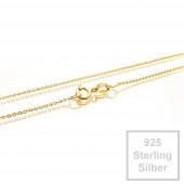 1x vergoldete 925er Halskette 42cm Stärke 0,8mm Sterling Silber - Schmuckzubehör