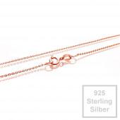 1x rosevergoldete 925er Halskette 42cm Stärke 0,8mm Sterling Silber - Schmuckzubehör