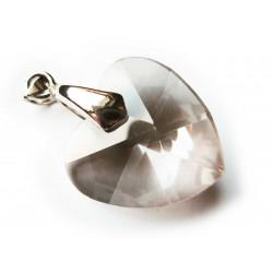 1x Kristallglas Herz Anhänger Black diamond 28x28mm Schmuckanhänger - Schmuckzubehör