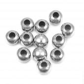 2x Edelstahl Perle 6x5mm Loch 2,5mm Kugel silberfarben Spacer Metallperle - Edelstahl Schmuckzubehör