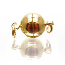 1x goldfarben Magnetverschluss 10x17mm kugelförmig - Schmuckzubehör Magnetverschluss