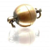 1x bronzefarben Magnetverschluss 10x17mm matt kugelförmig - Schmuckzubehör