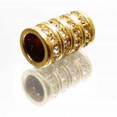 1x goldfarben Strass Magnetverschluss Innen 7mm Größe 14x10mm Zylinderform - Schmuckzubehör Magnetverschluss