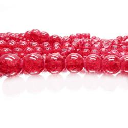 72 erdbeerrote Crackle Glasperlen 6mm Glasperlen - Schmuckzubehör