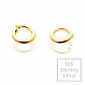 2x 4mm vergoldete Biegeringe 925er Sterling Silber Binderinge - Schmuckzubehör Biegering