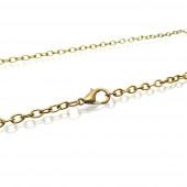 1x bronzefarben Halskette 76cm 4x3mm Gliederkette mit Karabinerhaken - Schmuckzubehör Schmuckkette
