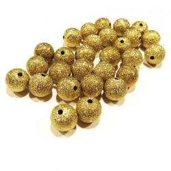5x Stardust 10mm angerauhte Metallperlen goldfarben Kugel Spacer - Schmuckzubehör Metallperlen
