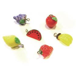 6x bunte Obst Schmuckanhänger aus Resin Fruchtmix Schmuck Anhänger - Schmuckzubehör