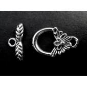 2x Knebelverschluss Blume silberfarben Ringteil 16x18mm Toggle - Schmuckzubehör
