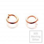 Rosegoldfarben 925er Biegeringe 3mm x 0,6mm Sterling Silber Binderinge - Schmuckzubehör