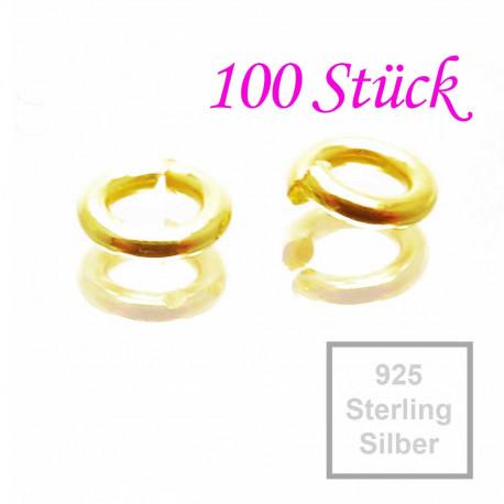 100x 925er Biegeringe 3mm x 0,8mm goldfarben Sterling Silber Binderinge - Schmuckzubehör Biegering