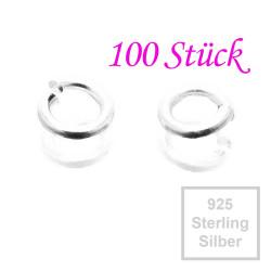 925er Biegering 3mm x 0,6mm Sterling Silber rund Binderinge - Schmuckzubehör