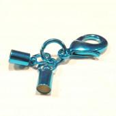 1x blauer Endkappe Verschluss Innen 4,2mm zum Einkleben mit 23mm Karabiner - Schmuckzubehör Endkappe