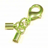 1x grüner Endkappe Verschluss Innen 4,2mm zum Einkleben mit 23mm Karabiner - Schmuckzubehör Endkappe