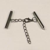 1x gunmetal 25mm Perlenband Verbinder Set mit Karabiner und Kettchen - Schmuckzubehör