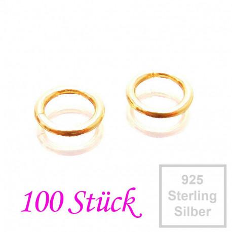 100x vergoldete 925er Biegeringe 5mm x 0,7mm Sterling Silber Binderinge - Schmuckzubehör