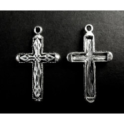 2x Kreuz Kruzifix Anhänger (1) silberfarben Schmuckanhänger ca. 31x20mm - Schmuckzubehör