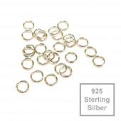 2x 925er Biegering 4mm x 0,6mm Sterling Silber rund Binderinge - Schmuckzubehör