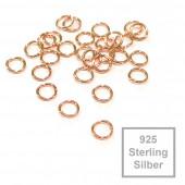 2x rosevergoldete 925er Biegeringe 4mm x 0,6mm Sterling Silber Binderinge - Schmuckzubehör