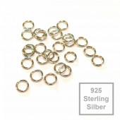 2x nickelfarbene 925er Biegering 4mm x 0,6mm Sterling Silber rund Binderinge - Schmuckzubehör