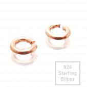 2x rosevergoldete 925er Biegeringe 4,5mm x 1mm Sterling Silber Binderinge - Schmuckzubehör
