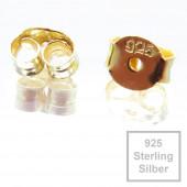 2x 925 Sterling Silber Ohrstopper 6x4,5mm Loch 0,6mm vergoldet - Schmuckzubehör aus 925 Silber