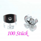 100x Edelstahl Ohrstopper 6x4mm silberfarben für Ohrringe - Edelstahl Schmuckzubehör