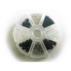 Box mit schwarz weissem Perlenmix aus Glas und Kristallglas - Schmuckzubehör