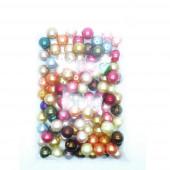 358g 15mm Glaswachsperlen im bunten Mix rund - Schmuckzubehör